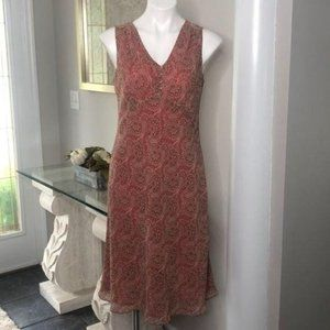 Loft Petites Coral Paisley Midi Empire Dress, 10P